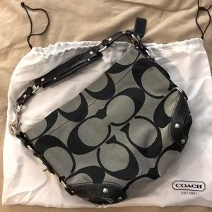 Coach Carly black gray hobo bag